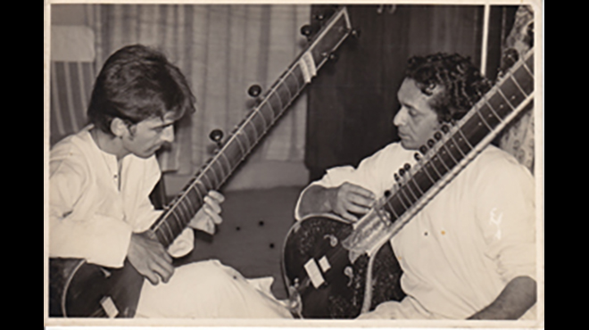 Ravi Shankar and George Harrison in in India in the late 1960s